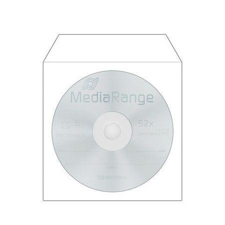 50 CD hoezen wit papier met venster en klep MediaRange